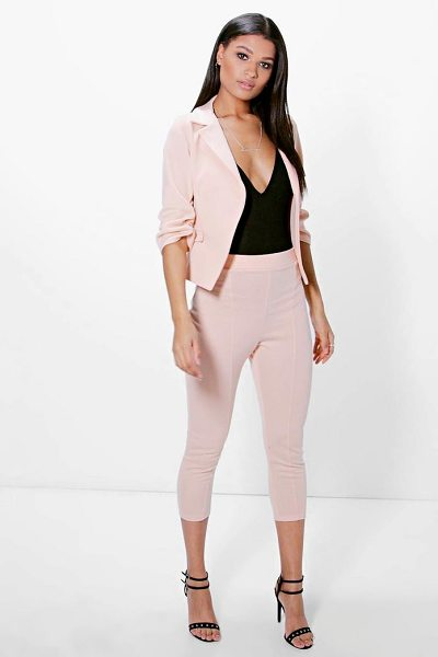 Boohoo Hannah Crop Skinny Ponte Trouser in blush - Trousers are a more sophisticated alternative to...