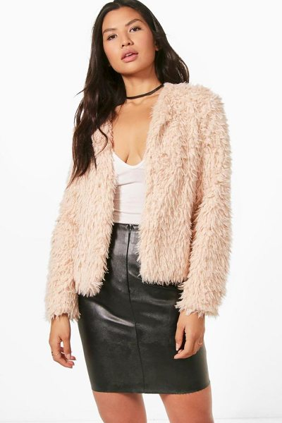 Boohoo Cropped Shaggy Faux Fur Coat in pink - Wrap up in the latest coats and jackets and get...