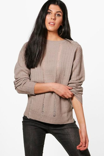Boohoo Hannah Distressed Laddered Rib Knit Jumper in dove - Nail new season knitwear in the jumpers and cardigans...