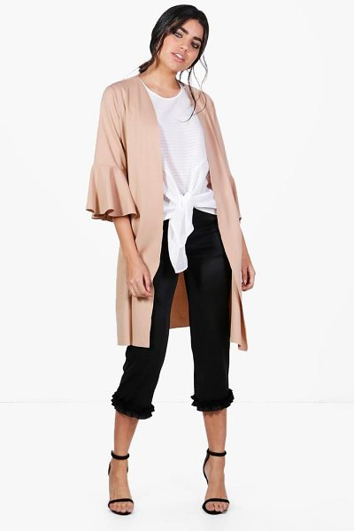 Boohoo Hannah Flute Sleeve Duster in stone - Wrap up in the latest coats and jackets and get...
