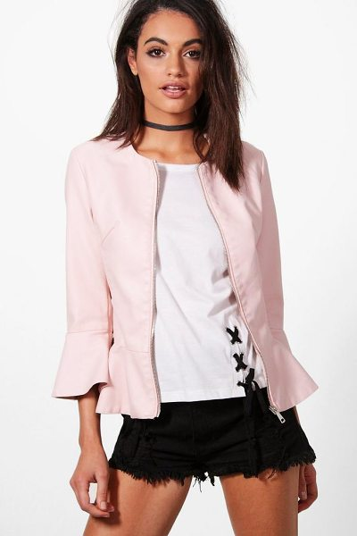 BOOHOO Hannah Flute Sleeve Peplum PU Jacket in nude - Wrap up in the latest coats and jackets and get...