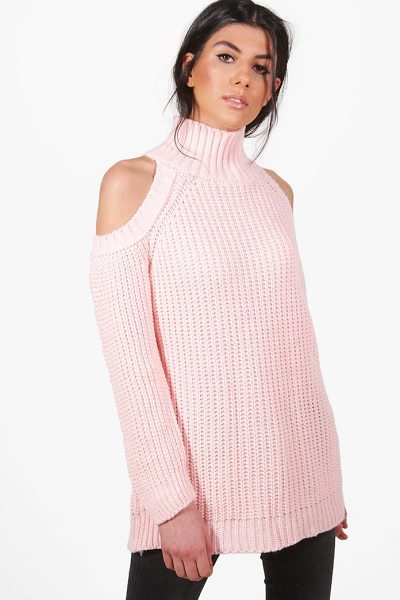 Boohoo Hannah Funnel Neck Cold Shoulder Jumper in blush - Nail new season knitwear in the jumpers and cardigans...
