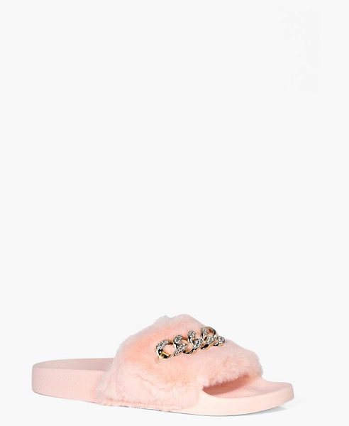 Boohoo Hannah Fur Chain Detail Slider in blush