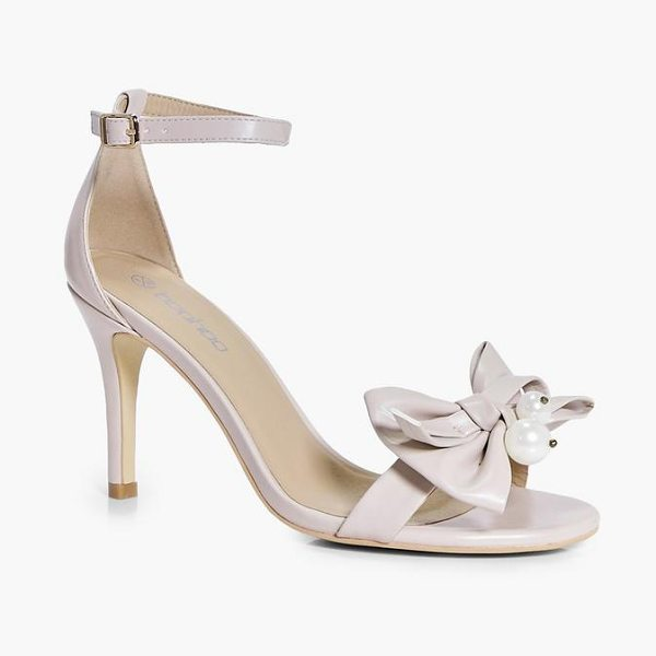 Boohoo Pearl And Bow Two Part Heels in nude - We'll make sure your shoes keep you one stylish step...