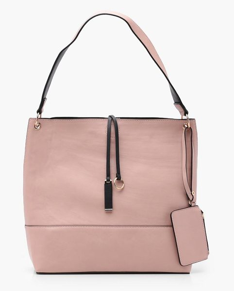 Boohoo Hannah Popper Shopper Bag With Purse in blush - Add attitude with accessories for those fashion-forward...