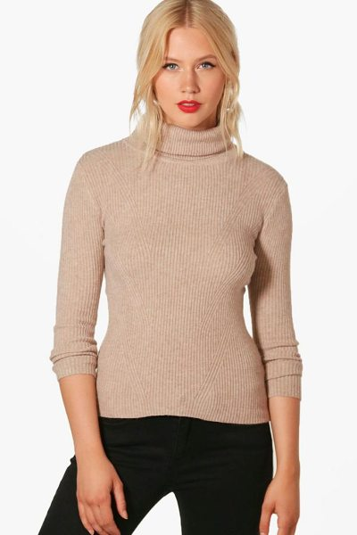 Boohoo Hannah Roll Neck Rib Knit Jumper in camel - Nail new season knitwear in the jumpers and cardigans...
