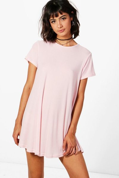 BOOHOO Hannah Short Sleeve Knitted Swing Dress in pink - Nail new season knitwear in the jumpers and cardigans...