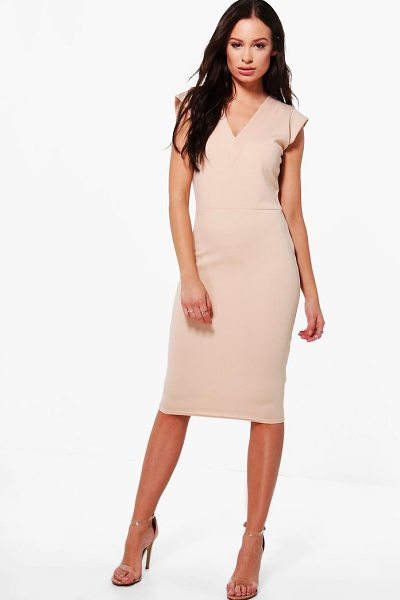 Boohoo Hannah Tailored Fitted Midi Dress in light sand - Dresses are the most-wanted wardrobe item for...