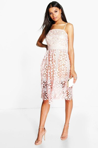 Boohoo Corded Lace Detail Midi Skater Dress in blush