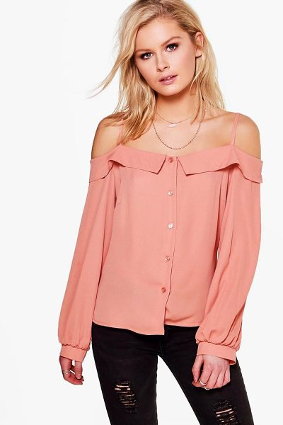 Boohoo Harper Cold Shoulder Woven Shirt in dusky pink - Steal the style top spot in a statement separate from...