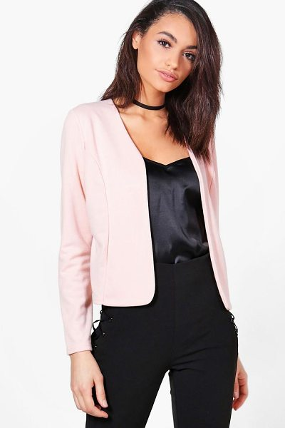 Boohoo Harriet Edge To Edge Ponte Blazer in nude - Wrap up in the latest coats and jackets and get...