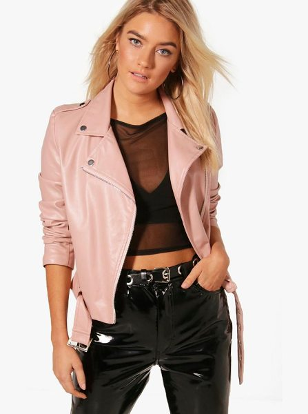 BOOHOO Harriet Faux Leather Vegan Biker - Wrap up in the latest coats and jackets and get...