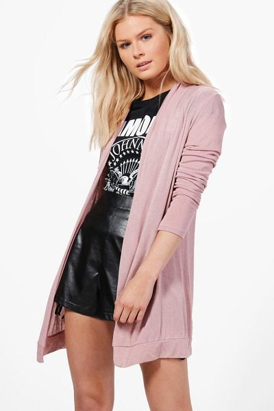 Boohoo Harriet Fine Knit Cardigan in blush - Nail new season knitwear in the jumpers and cardigans...
