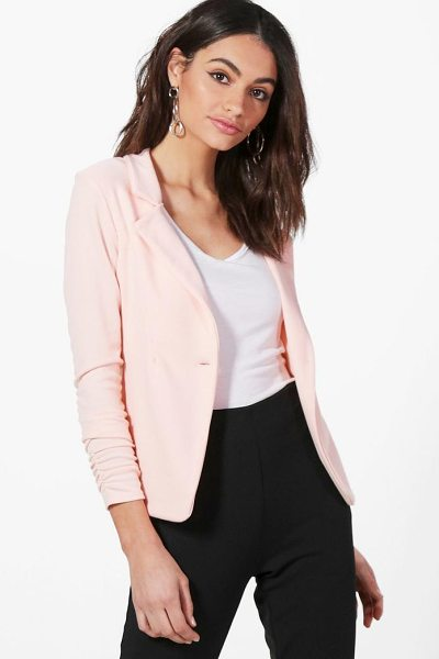 Boohoo Harriet Gathered Sleeve Button Ponte Blazer in nude - Add some classic tailoring to your wardrobe for...