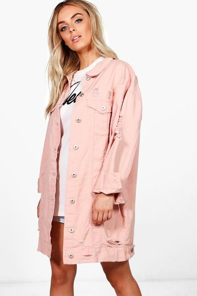 Boohoo Harriet Oversized Distressed Jacket in pink - Wrap up in the latest coats and jackets and get...