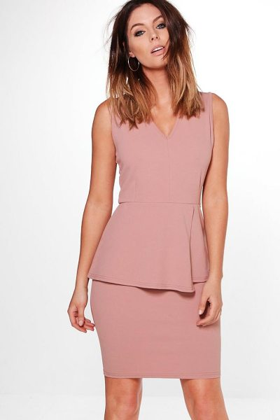 Boohoo Harriet Peplum Tailored Dress in rose - Dresses are the most-wanted wardrobe item for...