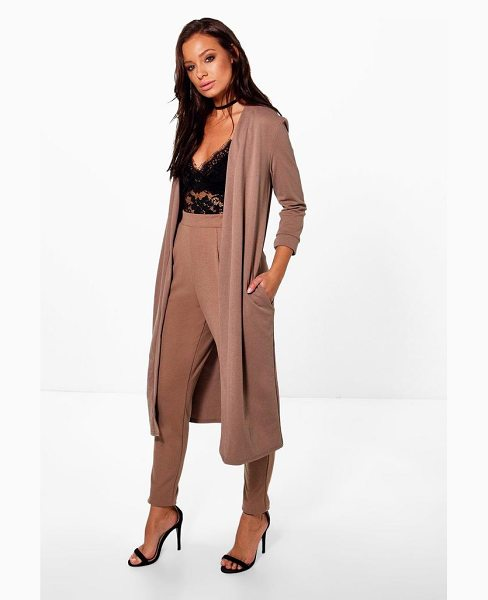 Boohoo Harriet Pocket Scuba Crepe Skinny Trouser in mocha - Trousers are a more sophisticated alternative to...