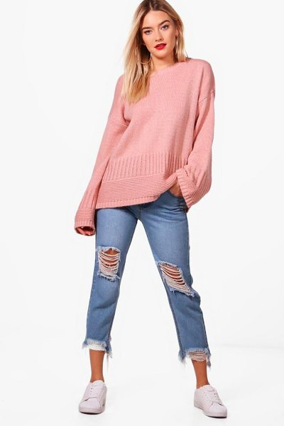 Boohoo Harriet Rib Edge Wide Sleeve Jumper in blush - Nail new season knitwear in the jumpers and cardigans...