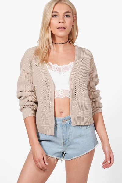 Boohoo Harriet Rib Stitch Edge To Edge Cardigan in stone - Nail new season knitwear in the jumpers and cardigans...
