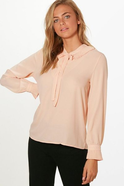 Boohoo Harriet Ruffle Neck Tie Detail Shirt in pink - Steal the style top spot in a statement separate from...