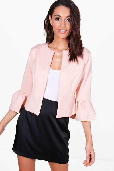 Boohoo Harriet Ruffle Sleeve Collarless Blazer in nude - Wrap up in the latest coats and jackets and get...