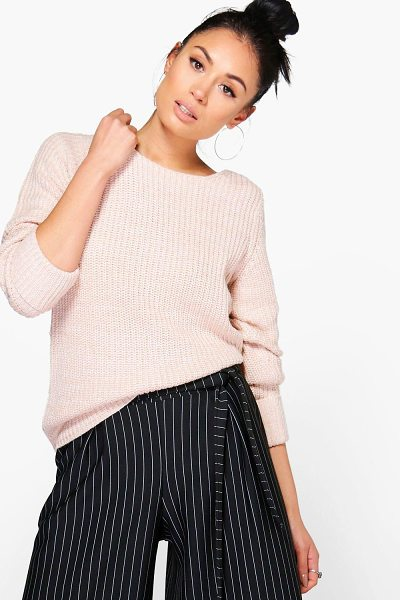 Boohoo Harriet Turn Back Cuff Jumper in soft%20pink - Nail new season knitwear in the jumpers and cardigans...