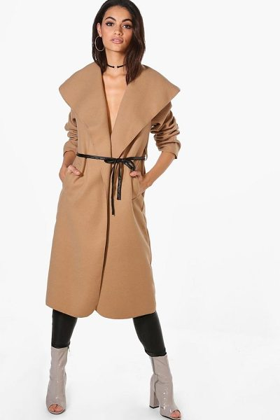 BOOHOO Harriet Waterfall PU Belted Wool Look Coat - Wrap up in the latest coats and jackets and get...