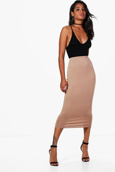 Boohoo Hayley Basic Jersey Longline Midi Skirt in rose - Skirts are the statement separate in every wardrobe This...