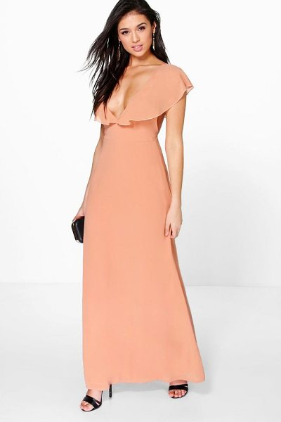 Boohoo Hayley Chiffon Frill Angel Sleeve Maxi Dress in stone - Dresses are the most-wanted wardrobe item for...