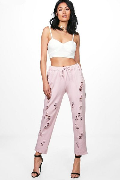 Boohoo Hayley Distressed Loopback Sweat Joggers in blush - Trousers are a more sophisticated alternative to...