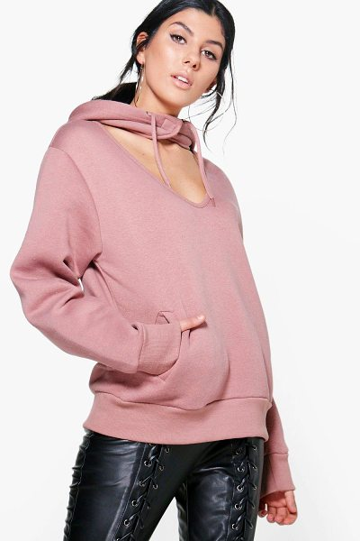 BOOHOO Heather Choker Detail Hooded Sweatshirt - Heather Choker Detail Hooded Sweatshirt rose