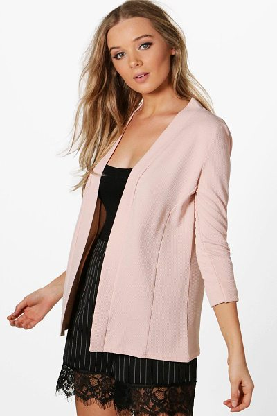 Boohoo Heather Collarless Waffle Blazer in nude - Wrap up in the latest coats and jackets and get...