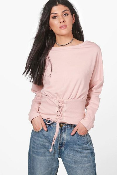 BOOHOO Heather Slouchy Lace Up Corset Sweatshirt - Steal the style top spot in a statement separate from...