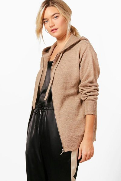 BOOHOO Heather Soft Knit Zip Up Hoody - Nail new season knitwear in the jumpers and cardigans...