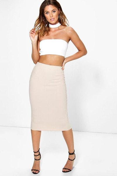 Boohoo Heidi Choker Bandeau Crop And Midi Skirt Co-ord in stone - Co-ordinates are the quick way to quirky this seasonMake...