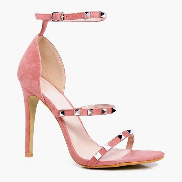 Boohoo Heidi Square Studded 3 Band Heels in pink - We'll make sure your shoes keep you one stylish step...