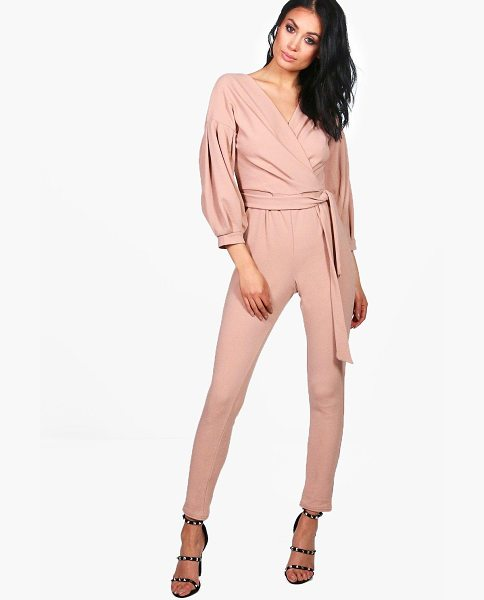 Boohoo Helen Exaggerated Sleeve Structured One Piece in stone - Helen Exaggerated Sleeve Structured Jumpsuit stone
