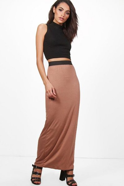 Boohoo Basic Contrast Waist Jersey Maxi Skirt in camel - Skirts are the statement separate in every wardrobe This...