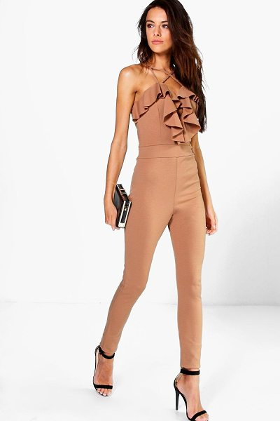 Boohoo Helena Ruffle Cross Front Skinny Leg Jumpsuit in camel - Jumpsuits are your day-to-night dress alternativeYour...