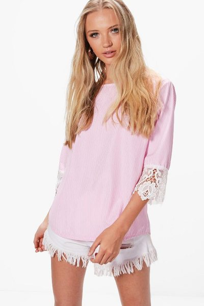 Boohoo Helena Woven Crochet Sleeve Stripe Blouse in pink - From day-to-night, season-to-season the shirt is the...