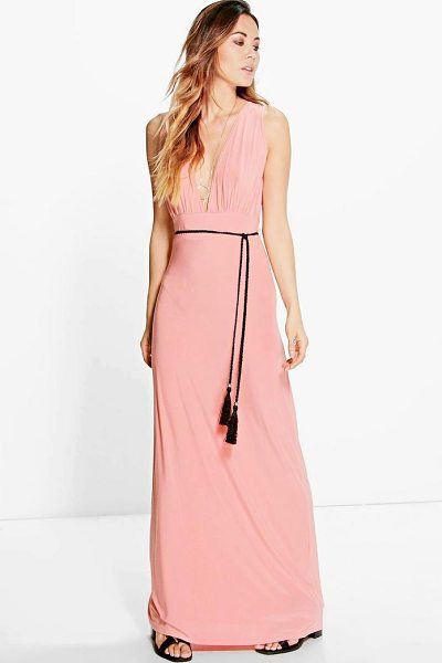 Boohoo Henrietta Rope Tie Maxi Dress in salmon - Dresses are the most-wanted wardrobe item for...