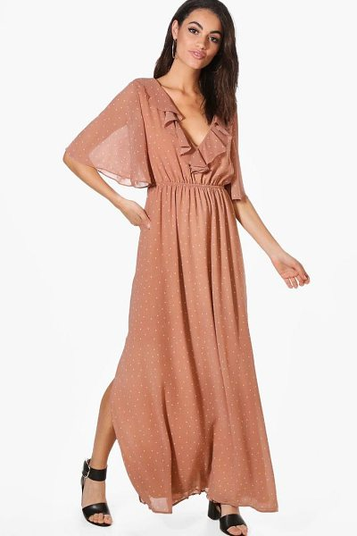BOOHOO Hester Polka Dot Ruffle Wrap Maxi Dress - Dresses are the most-wanted wardrobe item for...