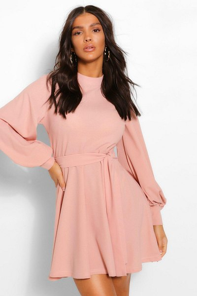 Boohoo High Neck Balloon Sleeve Belted Skater Dress in rose