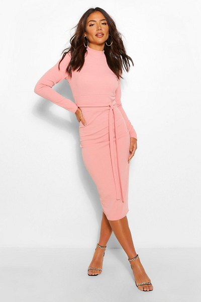 Boohoo High Neck Belted Midi Dress in rose