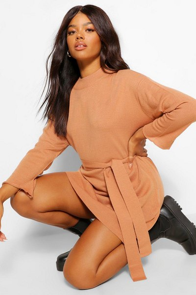 Boohoo High Neck Belted Sweater Dress in tan