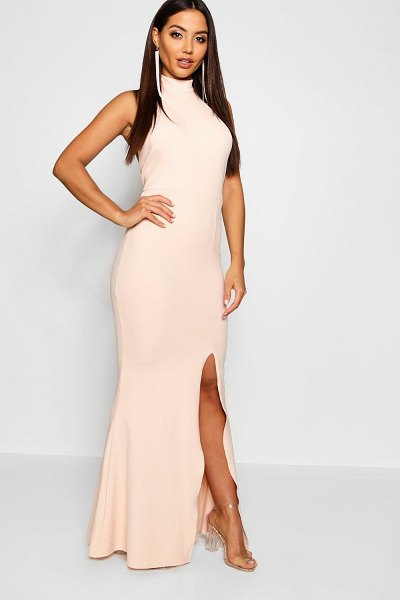 Boohoo High Neck Extreme Split Front Maxi Dress in nude