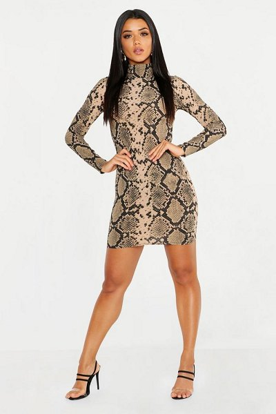 Boohoo High Neck Long Sleeve Snake Ribbed Mini Dress in camel - Dresses are the most-wanted wardrobe item for...