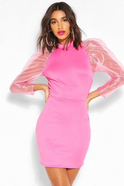 Boohoo High Neck Puff Sheer Sleeve Mini Dress in pink