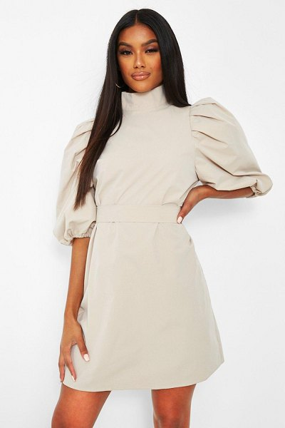 Boohoo High Neck Puff Sleeve Belted Shift Dress in stone