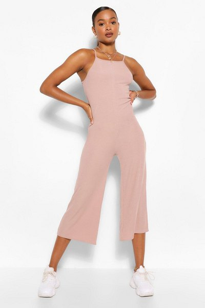 Boohoo High Neck Ribbed Culotte Jumpsuit in stone